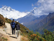 Trekking in Himalayas. Trekking in the highest mountains of the world - Himalayas, Nepal Stock Photos