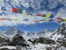 Trekking in the Himalayas. Trekking in the Himalayas, Nepal, Asia. On way to Everest Base camp. Prayer flags and mountain Royalty Free Stock Images