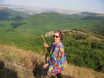 Trekking i bergen Royaltyfria Bilder