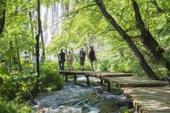 Trekking i den Plitvice nationalparken Royaltyfri Fotografi