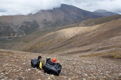 Trekking i Nepal Himalaya Arkivbilder