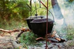 Trekking i skogen i sommaren Matlagningmat på insatsen Varm ny mat som ska förberedas i träna på insatsen royaltyfria bilder