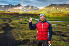 Trekking in Iceland. Beautifull camping with tents near mountain lake Royalty Free Stock Image
