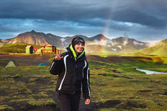Trekking in Iceland. Beautifull camping with tents near mountain lake. Travel to Iceland. Beautiful sunset in camping near Alftavatn lake. Icelandic landscape Royalty Free Stock Photos