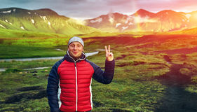 Trekking in Iceland. Beautifull camping with tents near mountain lake. Travel to Iceland. Beautiful sunset in camping near Alftavatn lake. Icelandic landscape Stock Photography