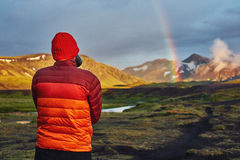 Trekking in Iceland. Beautifull camping with tents near mountain lake. Travel to Iceland. Beautiful sunset in camping near Alftavatn lake. Icelandic landscape Stock Image