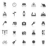 Trekking icons with reflect on white background Stock Photography