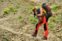 Trekking im Markha-Tal in Karakorum-Bergen nahe Leh-Stadt lizenzfreie stockfotografie