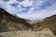 Trekking In The Markha Valley In Karakorum Mountains Near Leh Town Royalty Free Stock Photos