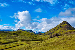 Trekking in Island lizenzfreie stockbilder