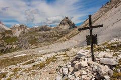 Trekking in the Italian Alps around the Three Peaks Stock Images