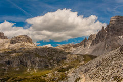 Trekking in the Italian Alps around the Three Peaks Stock Photo