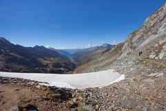 Trekking in the Italian  Alps; it`s autumn with no people around Royalty Free Stock Photography