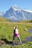 Trekking in the Jungfrau region Stock Photo