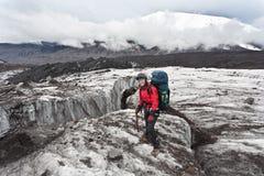 Trekking on Kamchatka. Royalty Free Stock Photography