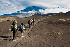 Trekking on Kamchatka. Royalty Free Stock Photo