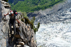 Trekking In Karakorum. Stony path towards Nanga Parbat base camp in Karakorum stock photography