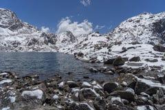Gosaikunda lakes in Nepal trekking tourism. Trekking in Langrang nature reserve of sacred lakes of Nepal Stock Images