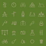 Trekking line color icons on green background. Stock vector Stock Photo