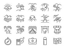 Trekking line icon set. Included the icons as view, nature, camping, mountain, forest, backpacking, travel, sunset and more. Vector and illustration: Trekking Royalty Free Stock Images