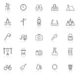 Trekking line icons with reflect on white background Royalty Free Stock Photos