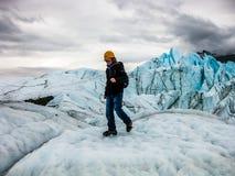 Trekking on glacier royalty free stock photos