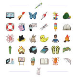 Trekking, medicine, education and other web icon in cartoon style.ecology, business, tourism icons in set collection. Trekking, medicine, education and other Royalty Free Stock Photos