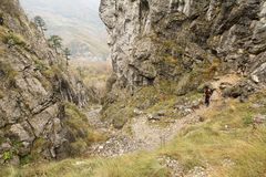 Trekking in Mehedinti Mountains in autumn Stock Image