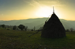 Trekking through mountain meadows near Danube river at sunset Stock Photography