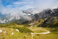 Trekking mountain road. Trekking road through to the mountain top at Alpspitze, Germany Stock Images