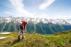 Trekking in mountains Stock Images