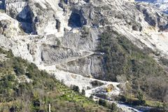 Mountains of marble mines in Apuane Alps Regional Park, Italy. stock image