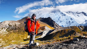 Trekking Mountains Climber Himalayas. Mountain climber returning from Island Peak Base Camp. Trekking in the highest mountains of the world - Himalayas, Nepal stock images