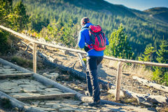 Trekking in mountains Stock Photo