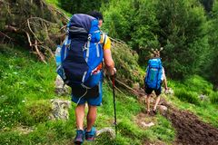 Trekking in mountains stock photography