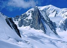 Trekking near Mt. Blanc. Trekking on a glacier in the French Alps near Mt. Blanc Stock Photos