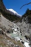 Mountain river in Nepal Himalaya. Trekking near nature reserve Langtang river Royalty Free Stock Image