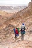 Trekking in Negev dramatic stone desert, Israel Stock Image