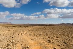 Trekking in Negev dramatic stone desert, Israel. View of ramon crater desert of southern israel during hiking Royalty Free Stock Photos