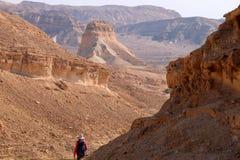 Trekking nel deserto di Negev fotografia stock