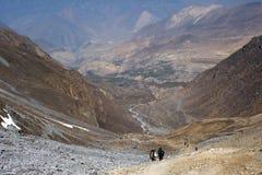 Trekking in Nepal Himalayagebergte Royalty-vrije Stock Foto
