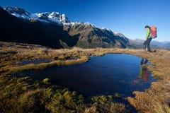 Trekking in Neuseeland Stockbilder