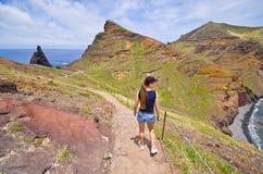 Trekking op het Ponta DE Sao Lourenco schiereiland, het eiland van Madera, royalty-vrije stock afbeeldingen