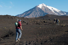 Trekking op Kamchatka, Rusland Stock Foto