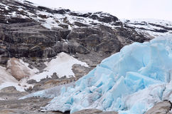 Trekking over a glacier. Trekking over Nigardsbreen Glacier,Norway royalty free stock photography