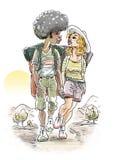 Trekking par stock illustrationer