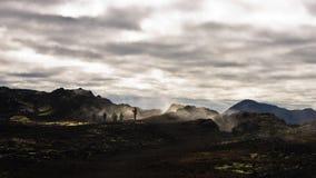 Trekking path through Krafla active volcanic area Stock Image