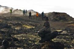 Trekking path through Krafla active volcanic area Stock Photography