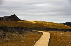 Trekking path through Krafla active volcanic area Royalty Free Stock Photography