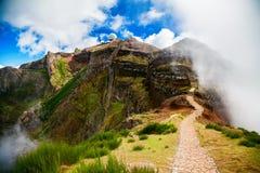 Trekking path leading to the third highest peak of Madeira Royalty Free Stock Photo